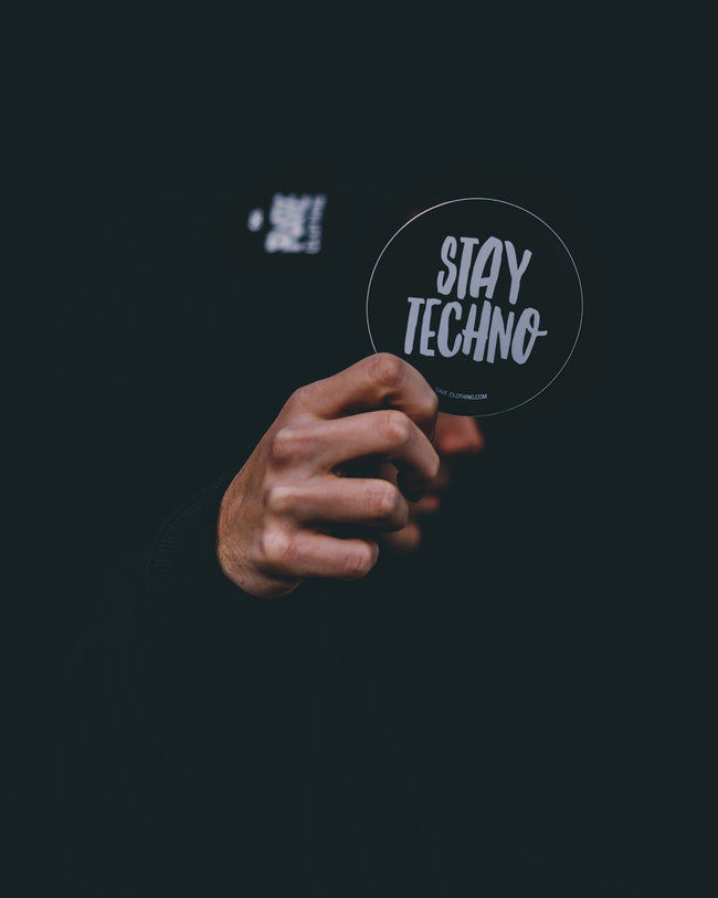 Black Stay Techno stickers by RAVE Clothing
