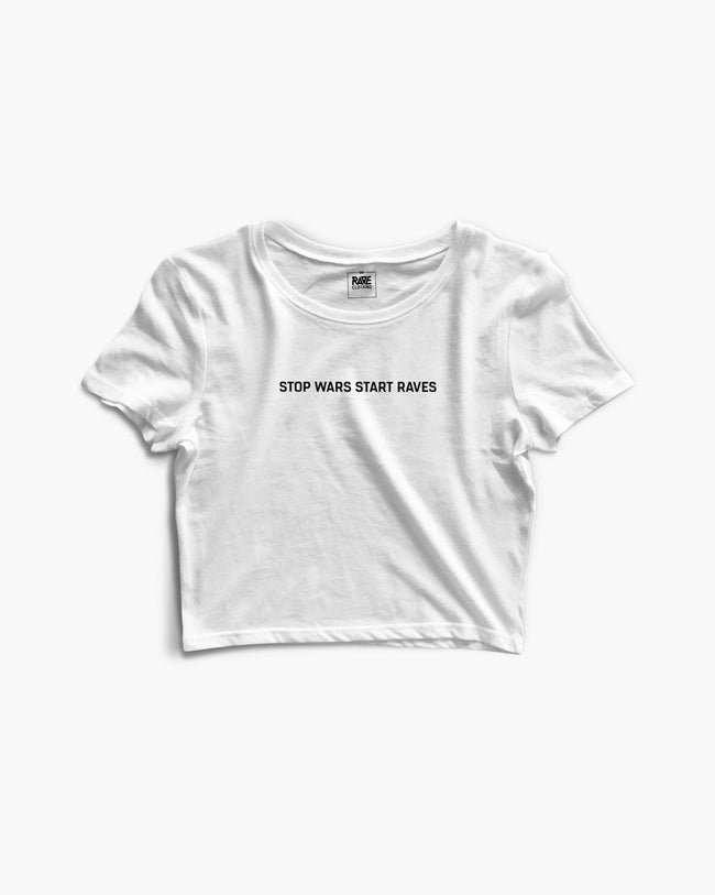 Stop Wars Start Raves Crop Top in white for women by RAVE Clothing