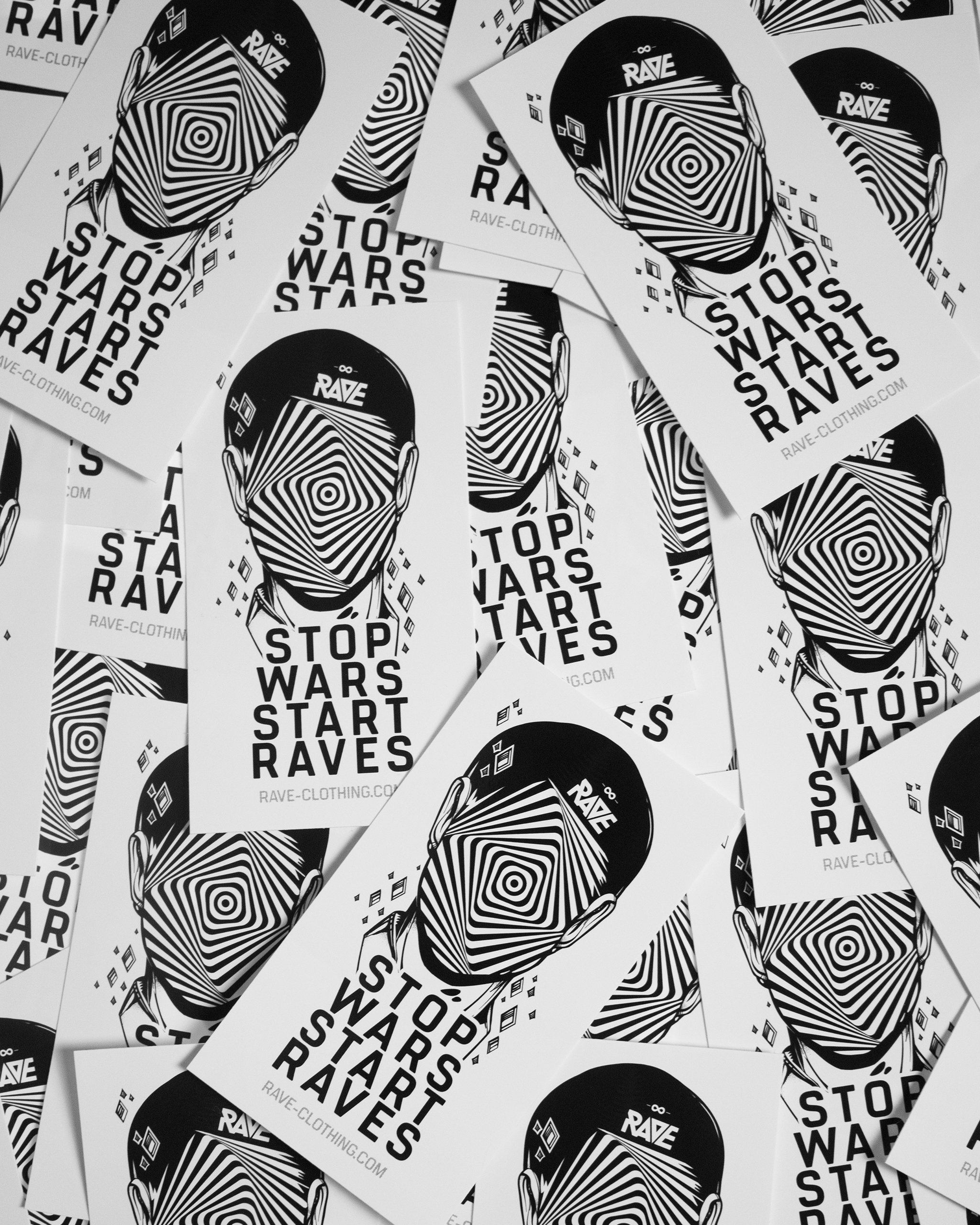 Stop Wars Start Raves Sticker von RAVE Clothing