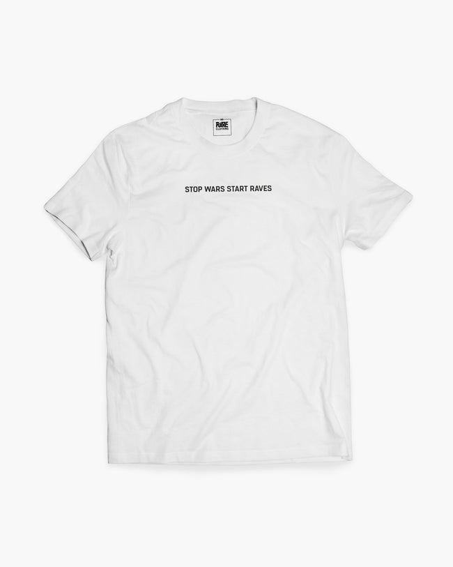 Stop Wars Start Raves T-shirt in white for men by RAVE Clothing
