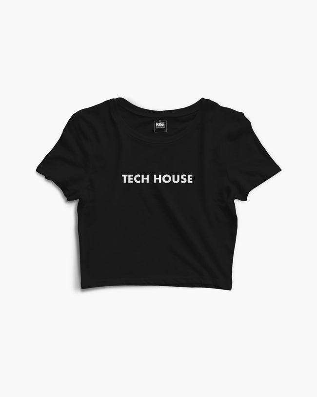 Tech House Crop Top in black for women by RAVE Clothing