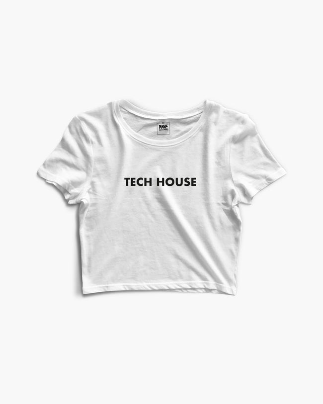 Tech House Crop Top in white for women by RAVE Clothing