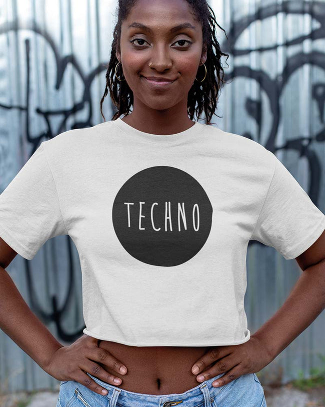 Techno Cropped Tee in weiß