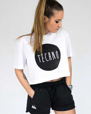 Techno Cropped Tee in white