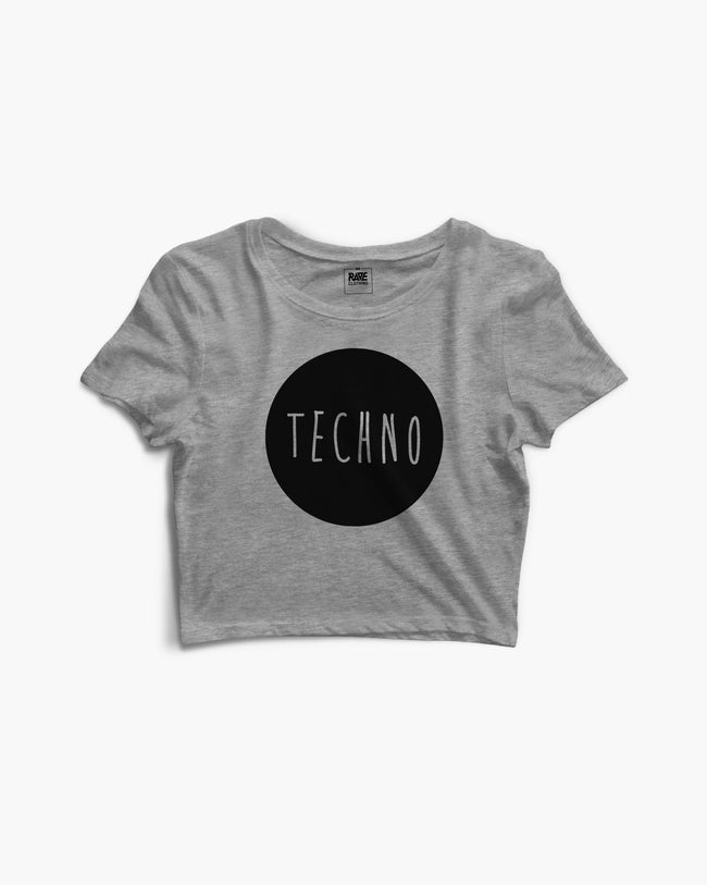 Techno crop top in light gray for women by RAVE Clothing