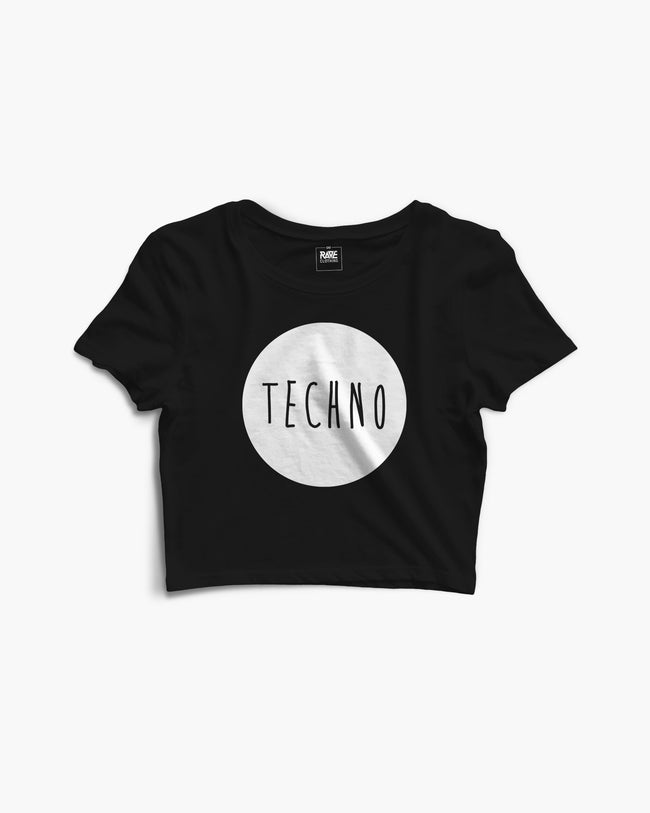 Techno crop top in black for women by RAVE Clothing