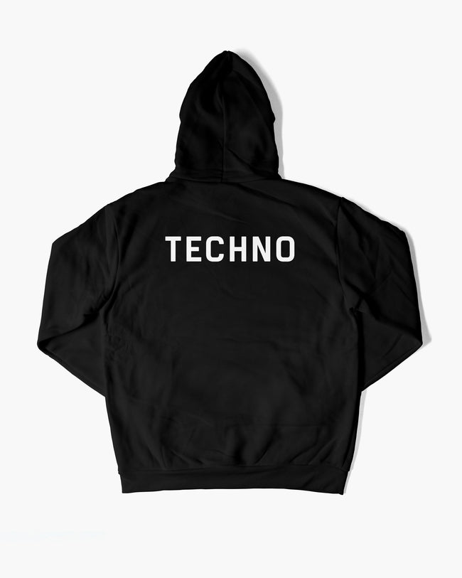 Techno Crew Hoodie in black for men by RAVE Clothing
