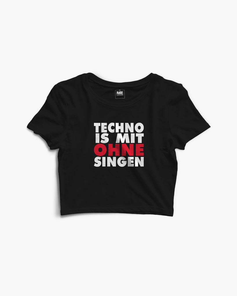 Techno is mit ohne singen Crop Top in schwarz von RAVE Clothing