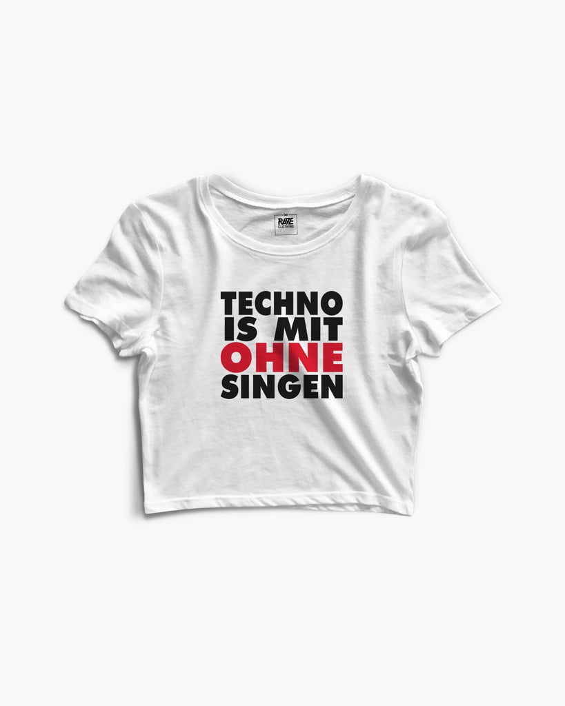 Techno is mit ohne singen Crop Top in weiß von RAVE Clothing
