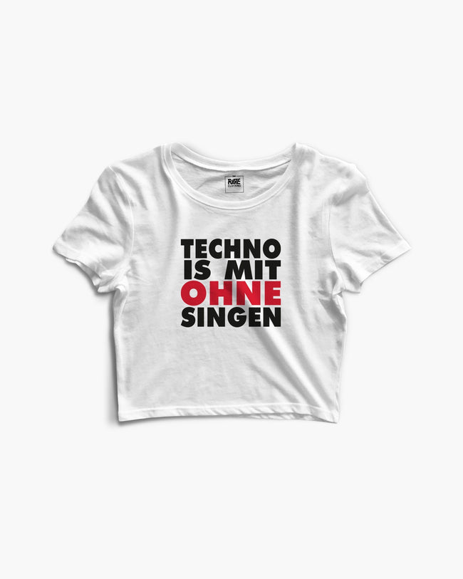 Techno is with no singing crop top in white by RAVE Clothing