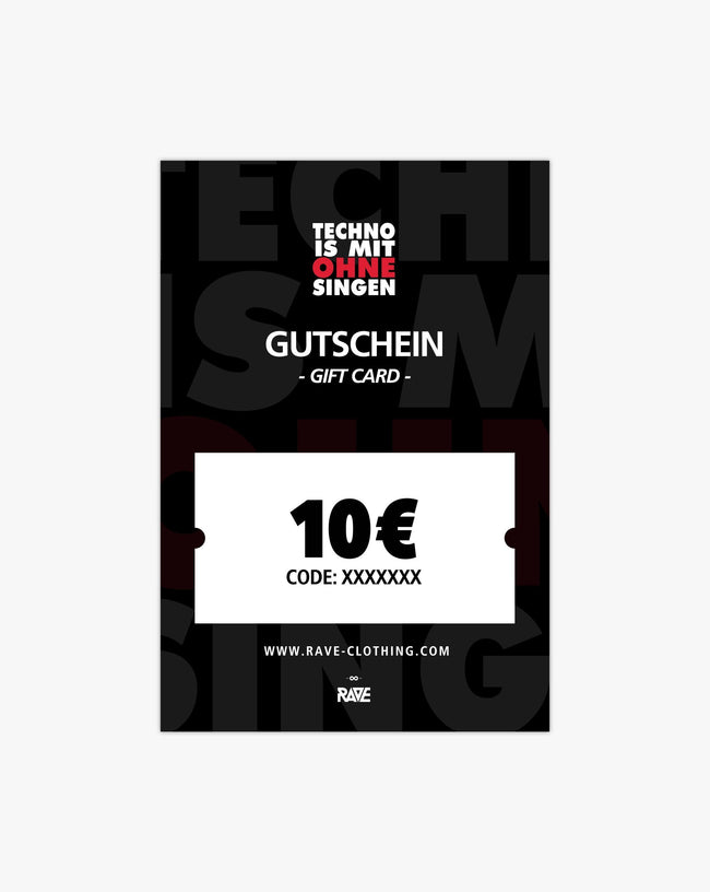 Techno is with without singing 10 € voucher from RAVE Clothing