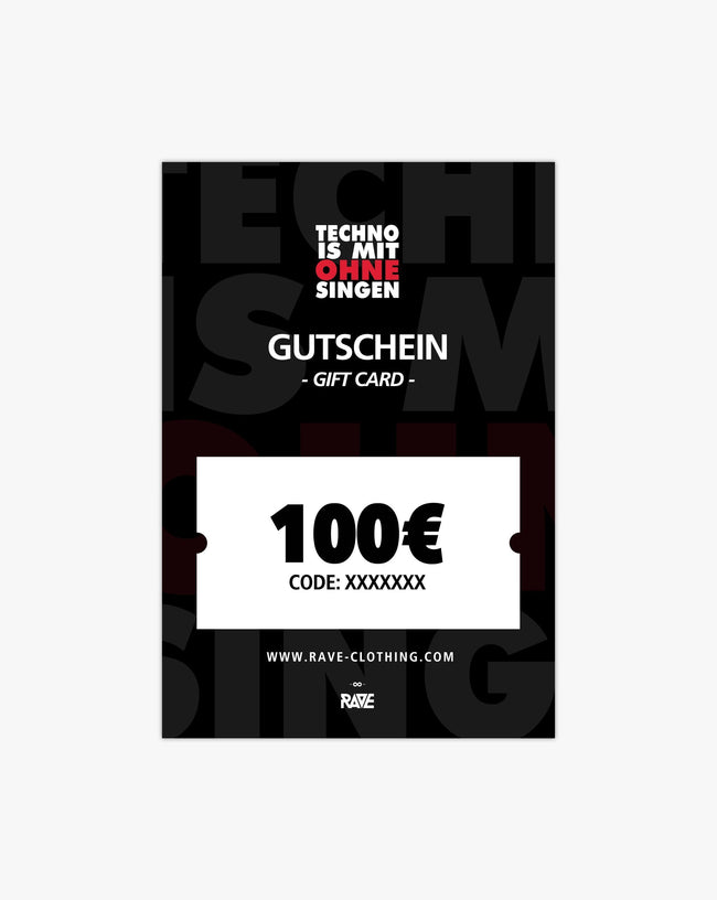 Techno is with without singing 100 € voucher from RAVE Clothing