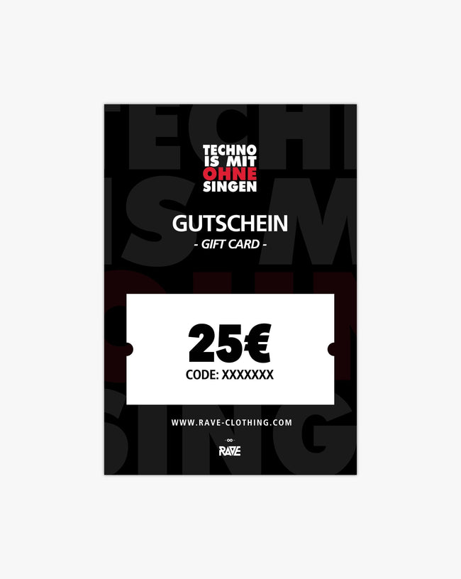 Techno is with without singing 25 € voucher from RAVE Clothing