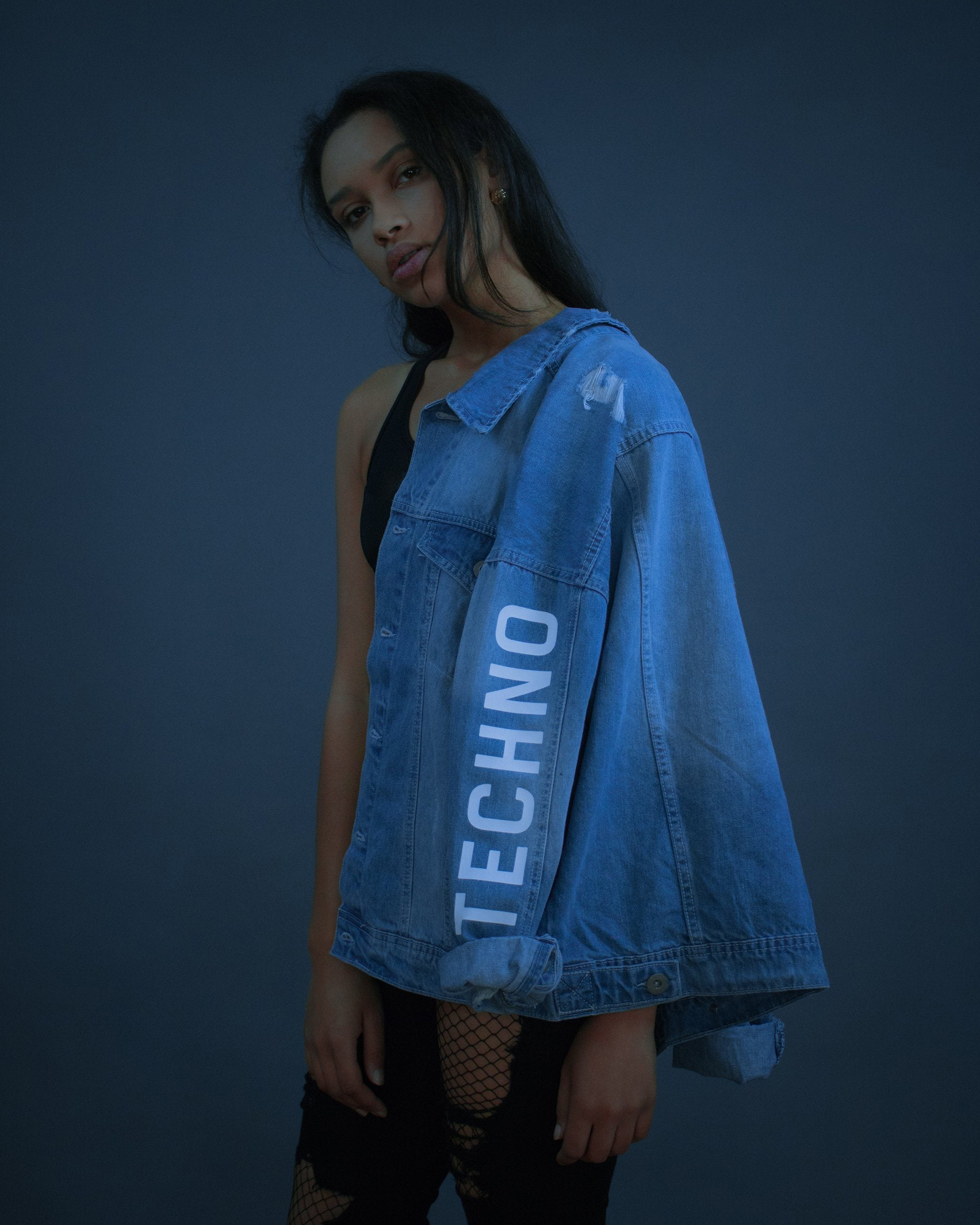 Denim jacket with techno motif