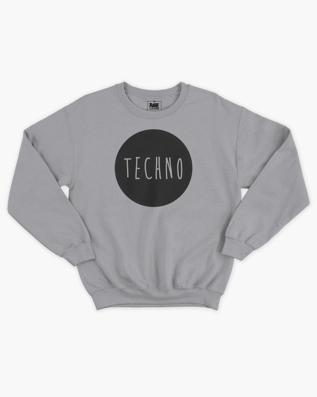Techno crewneck in light gray for men by RAVE Clothing