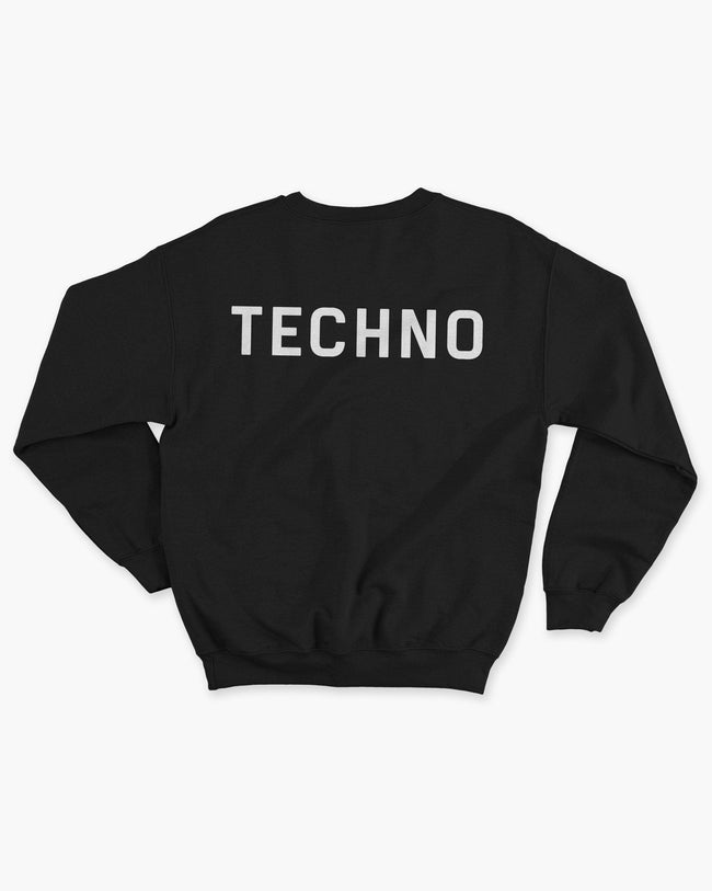 Black techno crew sweater for men