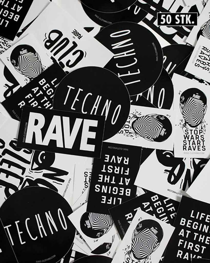 Techno sticker set set of 50