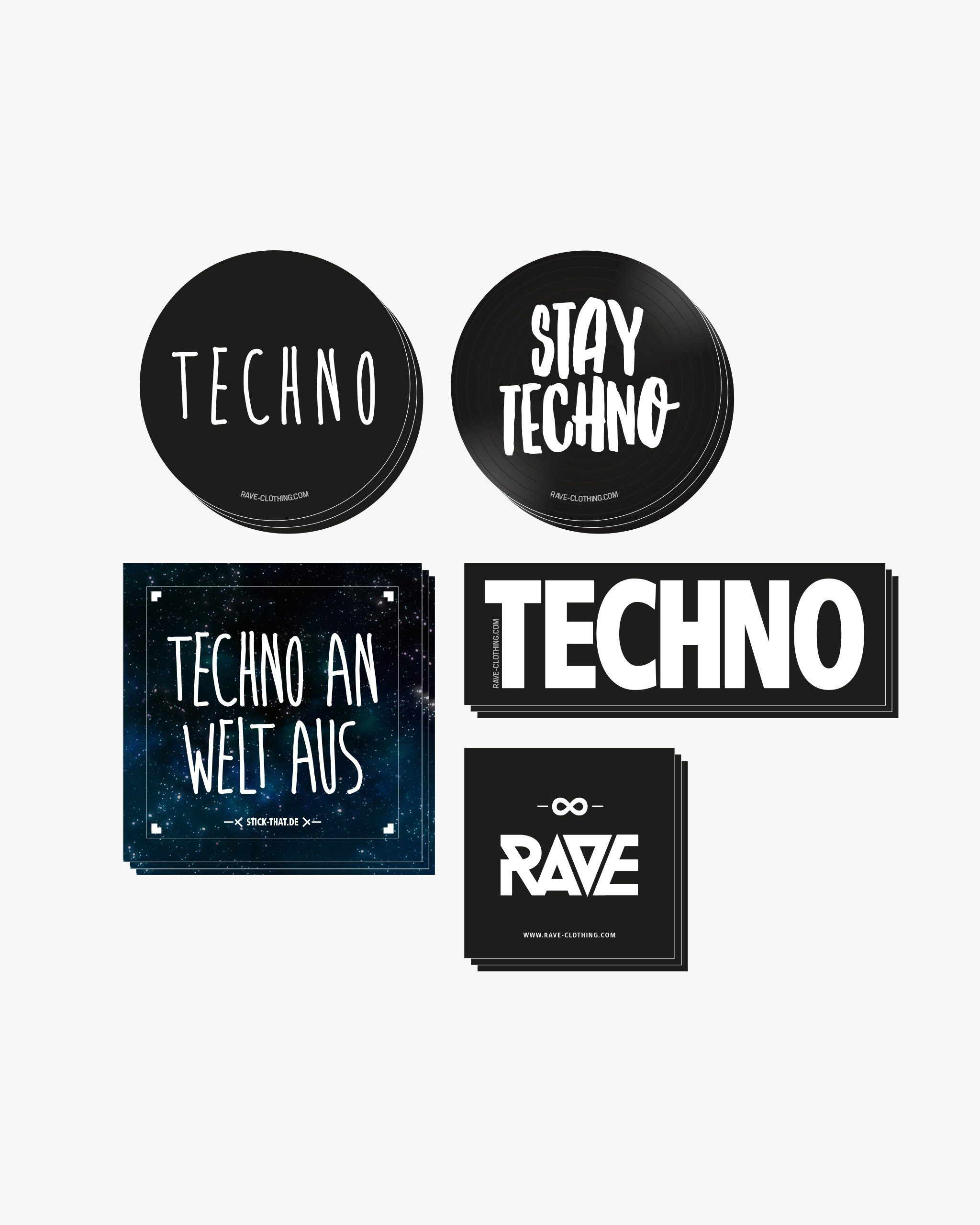 Techno sticker set by RAVE Clothing with different techno stickers. Including techno circle stickers, stay techno stickers, techno an world from stickers, rave stickers
