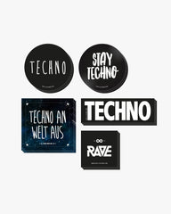 Techno Sticker Set von RAVE Clothing mit unterschiedlichen Techno Stickern. U.a. mit Technokreis Sticker, Stay Techno Sticker, Techno An Welt Aus Sticker, Rave Sticker