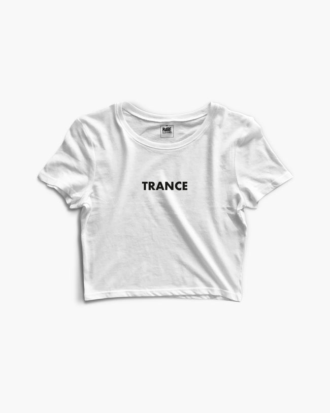 Trance crop top in white for women by RAVE Clothing