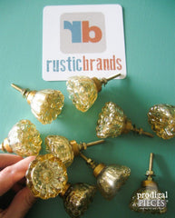 Gold glass crackle knobs