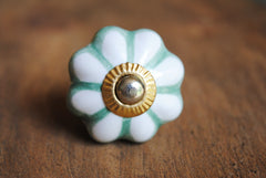 Green Melon Flower Print Knob