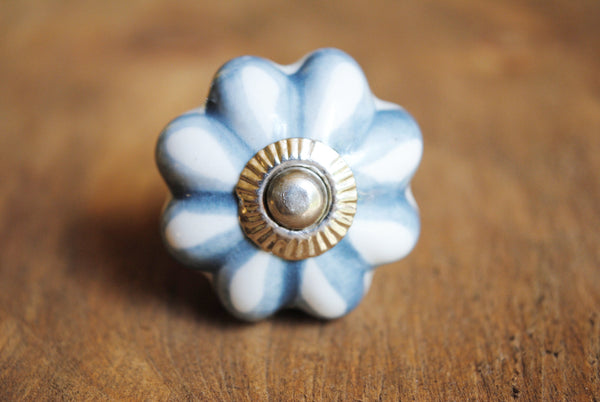 Blue Melon Flower Print Knob