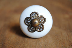White Antique Brass Flower Front Knob
