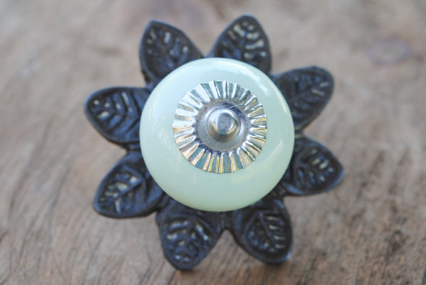 Round Ceramic Knob with Metal Flower Backplate - Mint