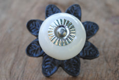 Round Ceramic Knob with Metal Flower Backplate - Off White