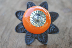 Round Ceramic Knob with Metal Flower Backplate - Orange