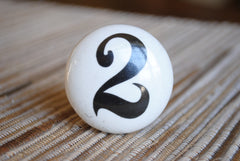 White Ceramic Number Knobs