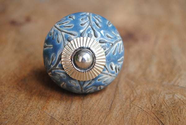 Blue-Gray Leaf Ceramic Knob