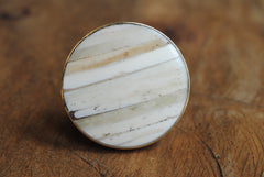 Round Cream Striped Knob
