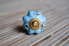 Distressed Light Blue Round