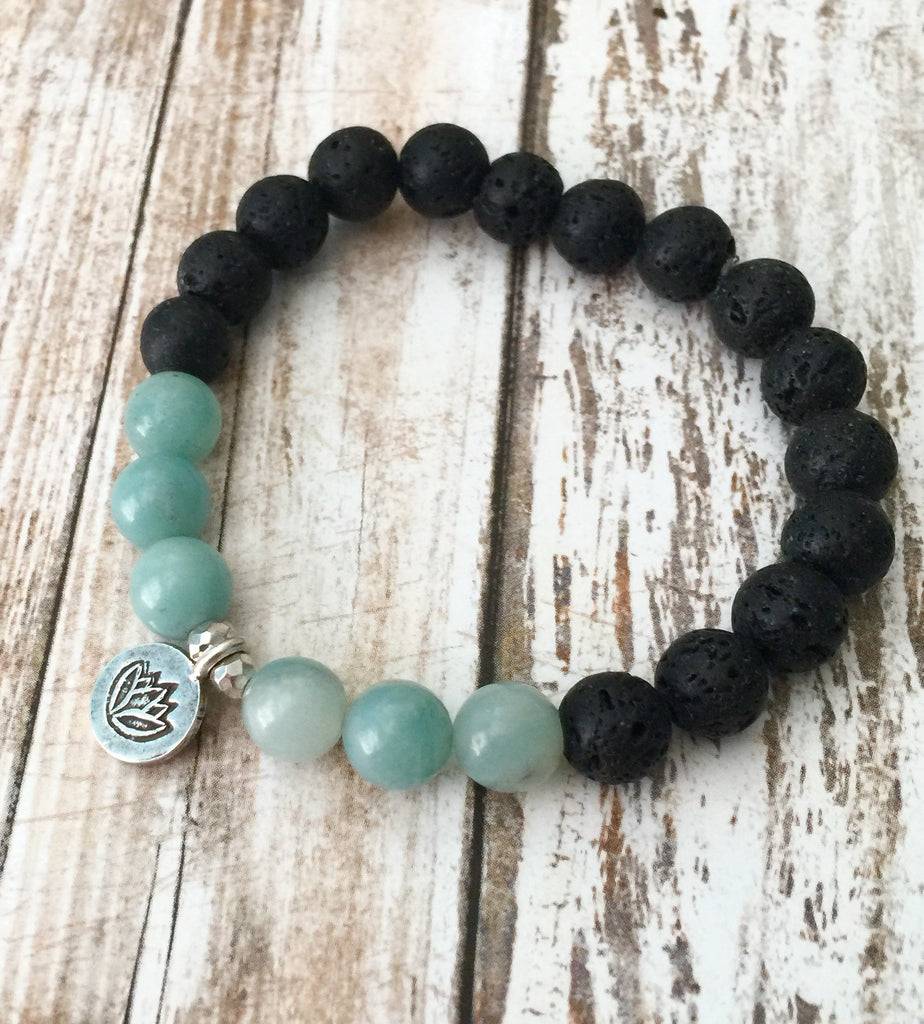 Amazonite and Lava Stone  Lotus Bracelet