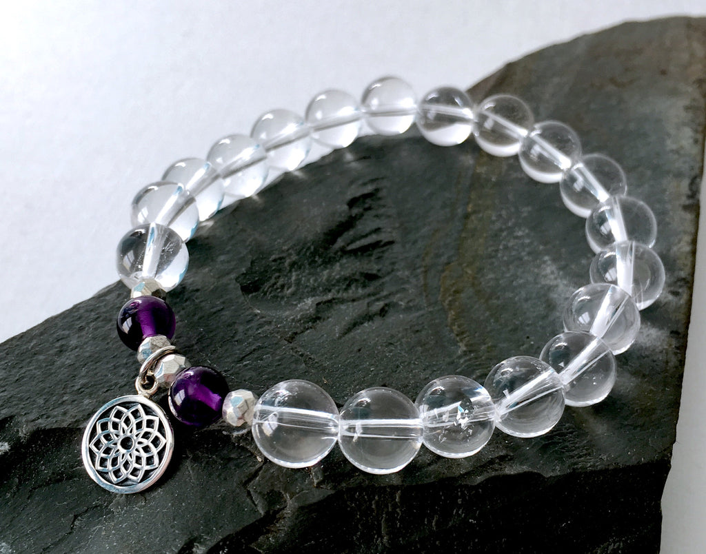 Crystal Quartz and Amethyst Crown Chakra Charm Bracelet