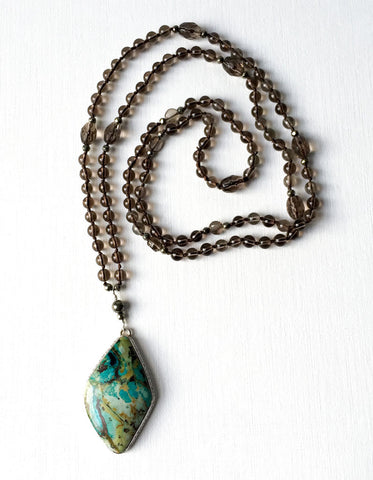 Smoky Quartz Mala with Sonoran Cactus Chrysocolla Pendant