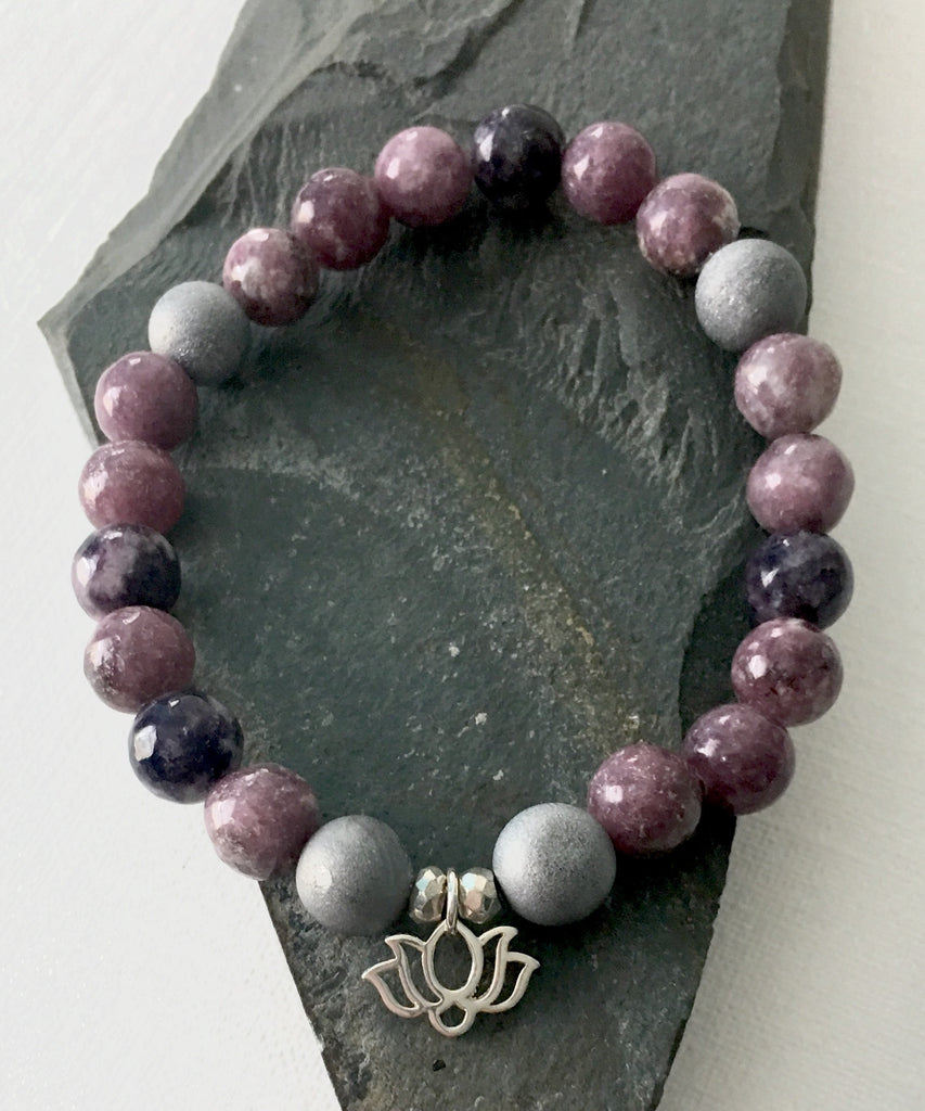 Lepidolite and Gray Druzy Lotus Charm Bracelet