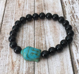 Black Onyx and Howlite Buddha Bracelet
