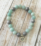 Amazonite and Gray Druzy Lotus Bracelet