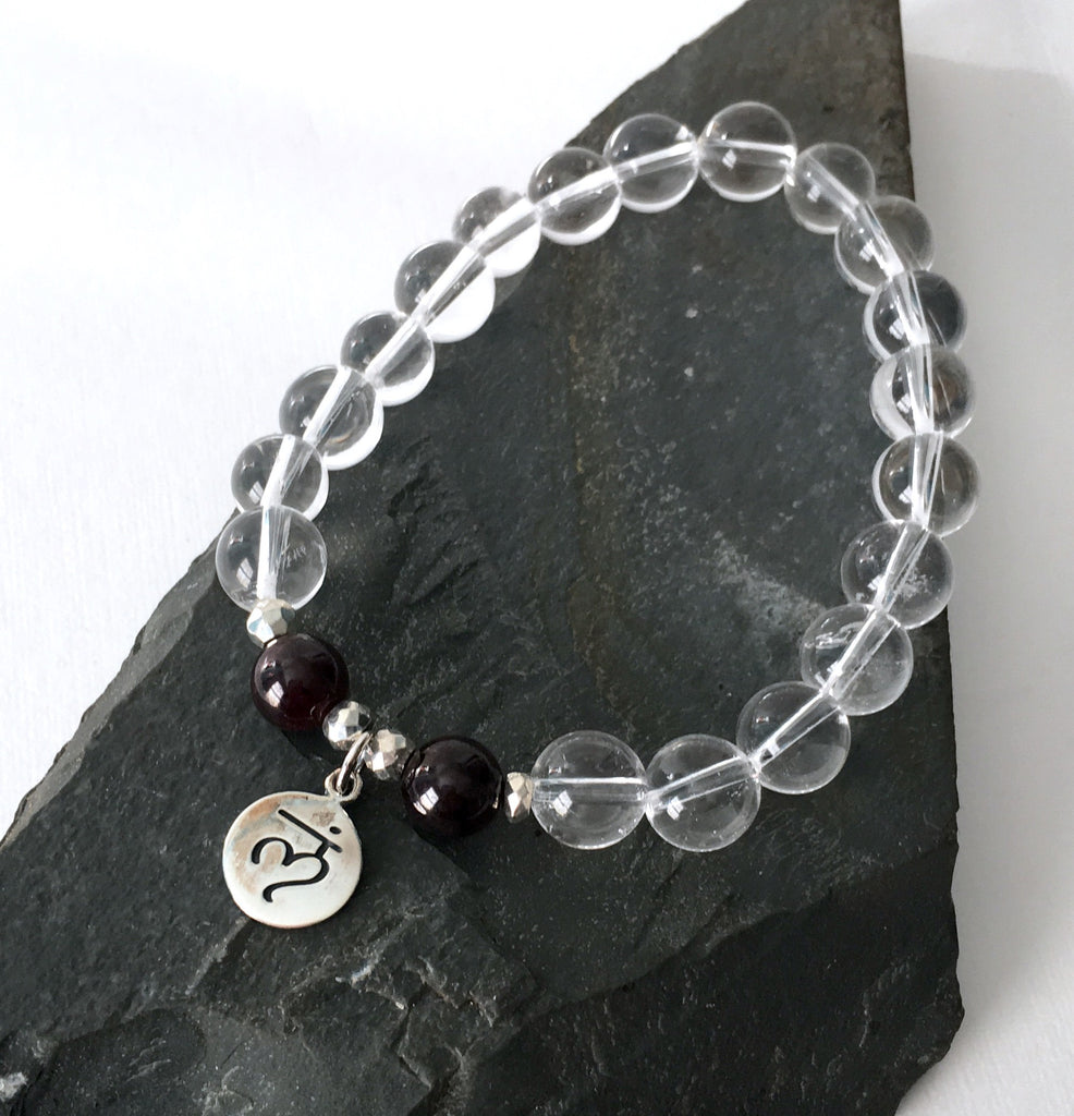 Crystal Quartz and Garnet Root Chakra Charm Bracelet