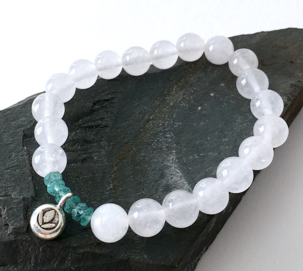 White Jade and Apatite Lotus Bracelet