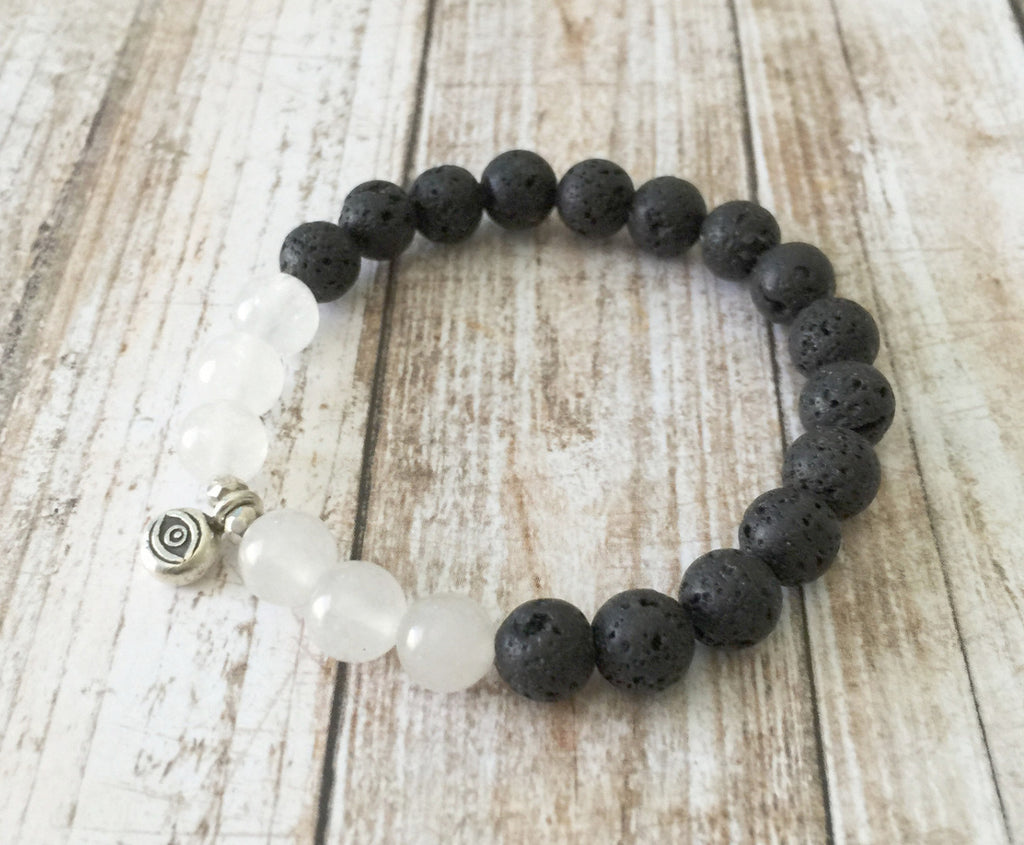 Lava Stone and White Jade Buddha Eye Bracelet