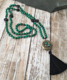 Turquoise and Banded Agate Mala with Tibetan Wheel