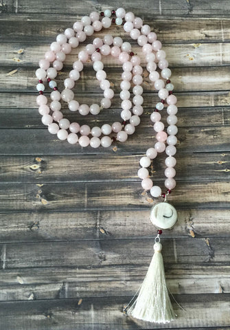 Rose Quartz and Garnet Mala