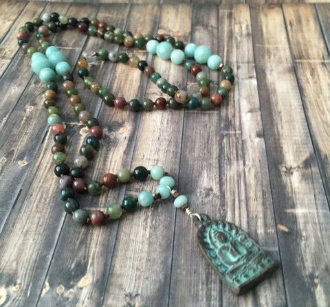 Fancy Jasper Mala with Amazonite and Tibetan Bronze Buddha
