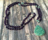 Amethyst Mala with Hand Fabricated Green Amazonite Pendant