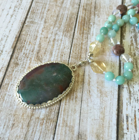 Amazonite, Citrine, and Rhodonite Mala with Bloodstone Pendant
