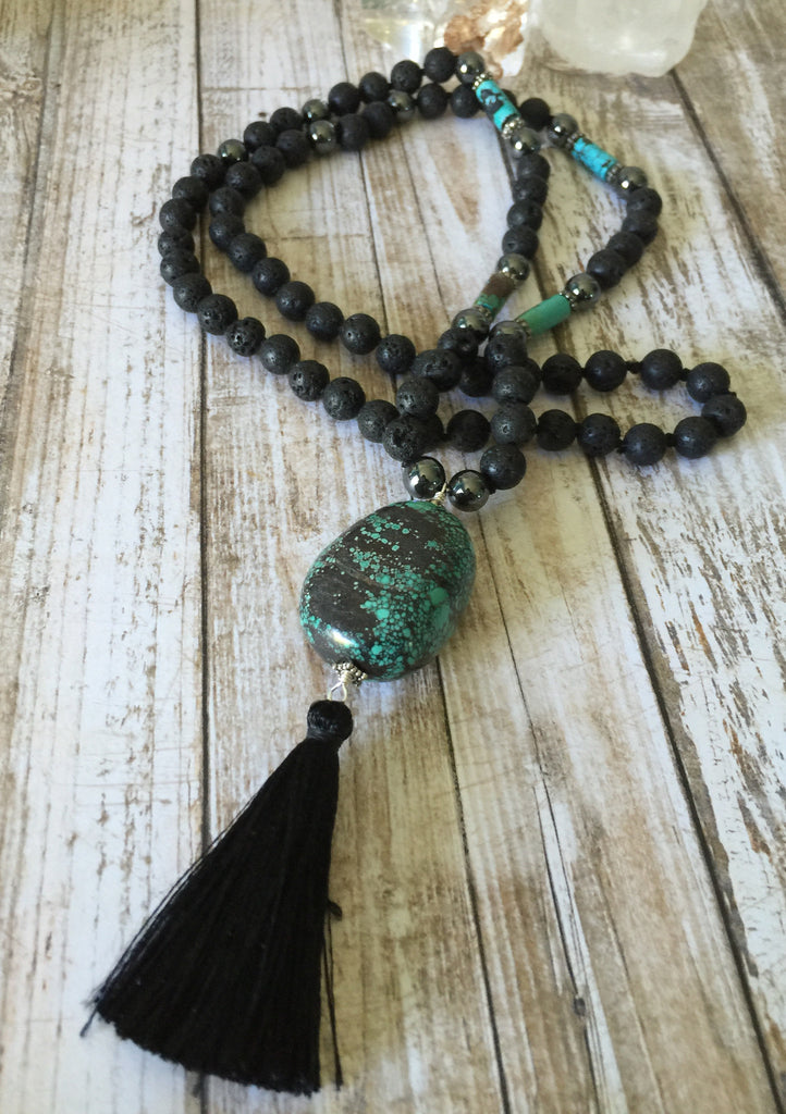 Lava Stone, Hematite and Turquoise Necklace